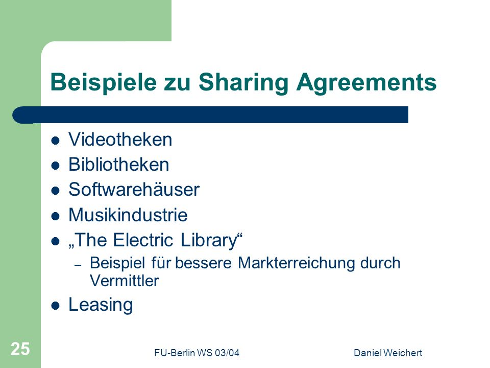 Beispiele zu Sharing Agreements