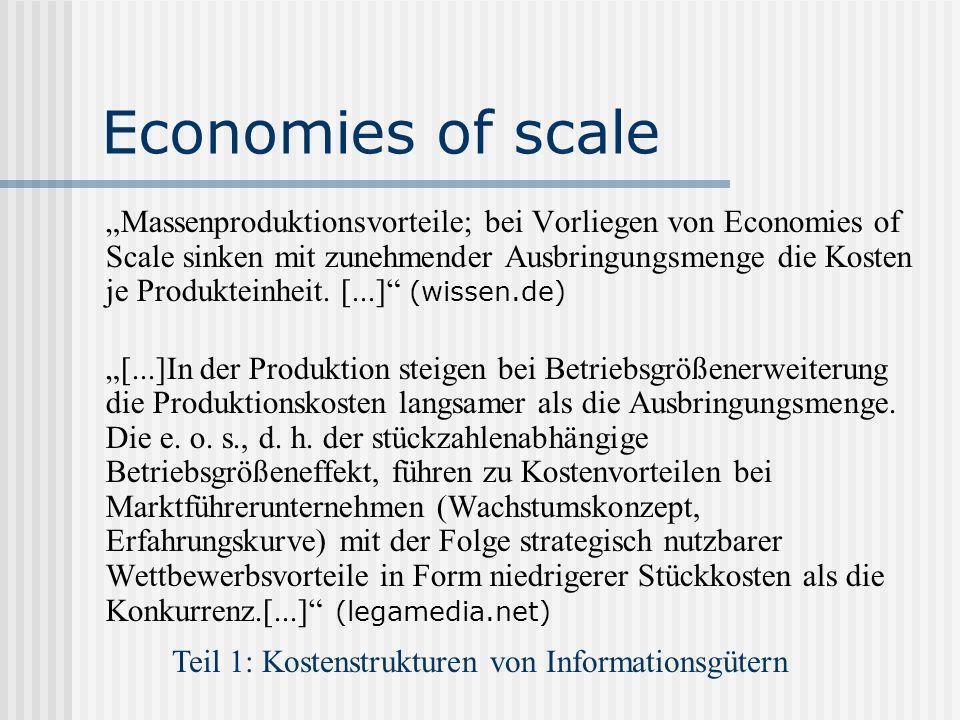 Teil 1: Kostenstrukturen von Informationsgütern