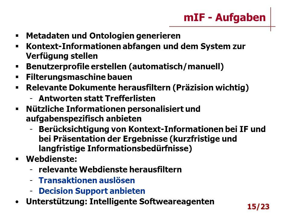 mIF - Aufgaben Metadaten und Ontologien generieren