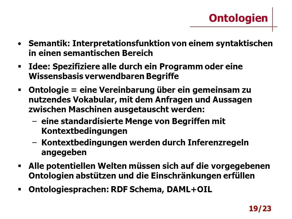 Ontologien Semantik: Interpretationsfunktion von einem syntaktischen in einen semantischen Bereich.