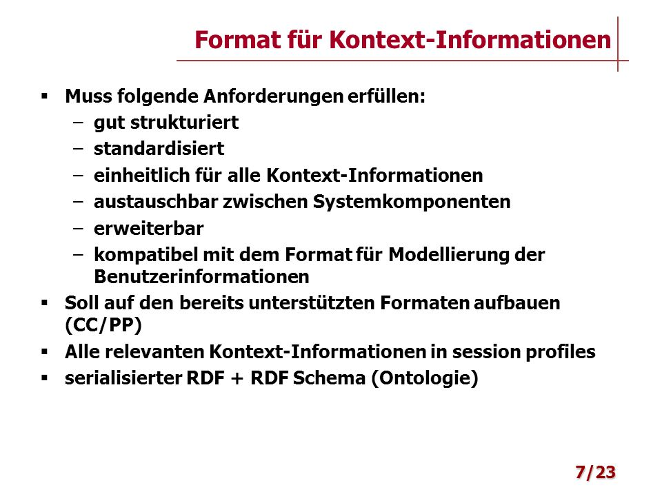 Format für Kontext-Informationen