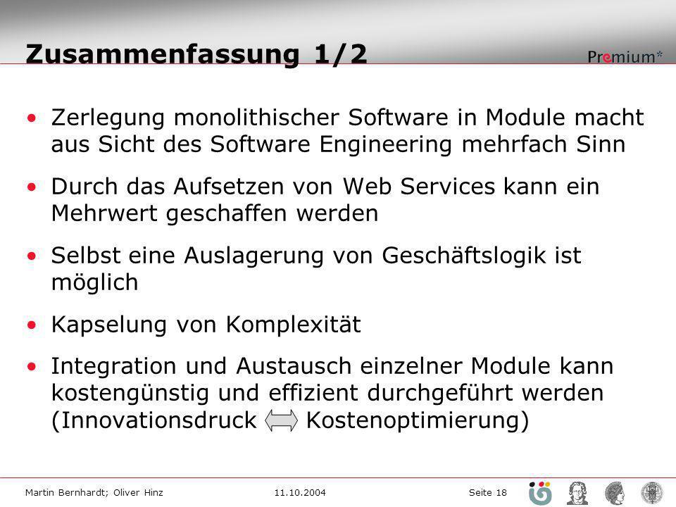 Zusammenfassung 1/2 Zerlegung monolithischer Software in Module macht aus Sicht des Software Engineering mehrfach Sinn.