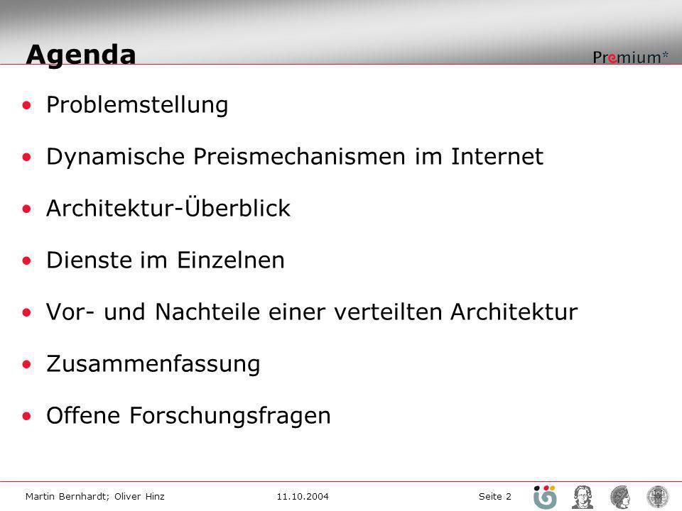 Agenda Problemstellung Dynamische Preismechanismen im Internet