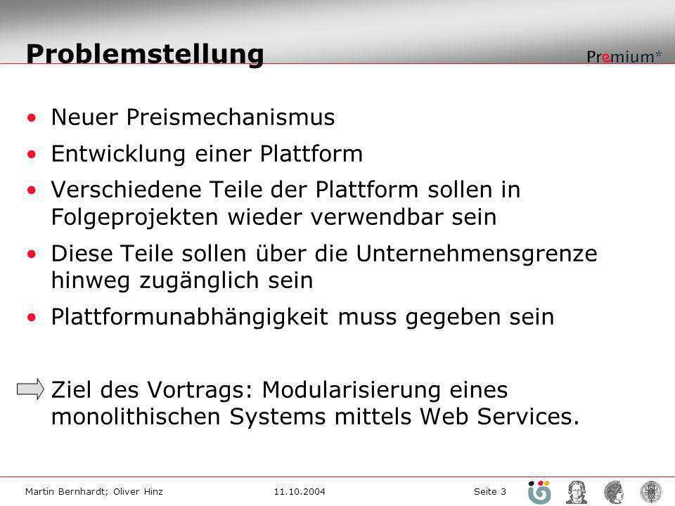 Problemstellung Neuer Preismechanismus Entwicklung einer Plattform