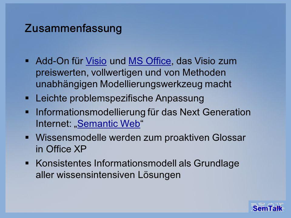 Zusammenfassung Add-On für Visio und MS Office, das Visio zum preiswerten, vollwertigen und von Methoden unabhängigen Modellierungswerkzeug macht.