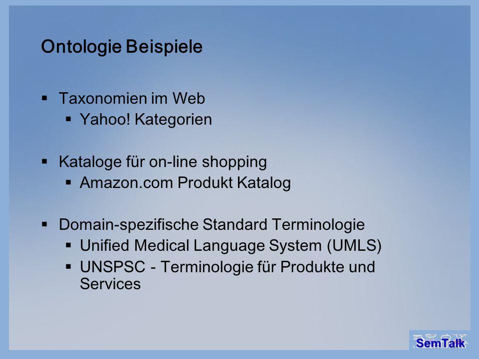 Ontologie Beispiele Taxonomien im Web Yahoo! Kategorien