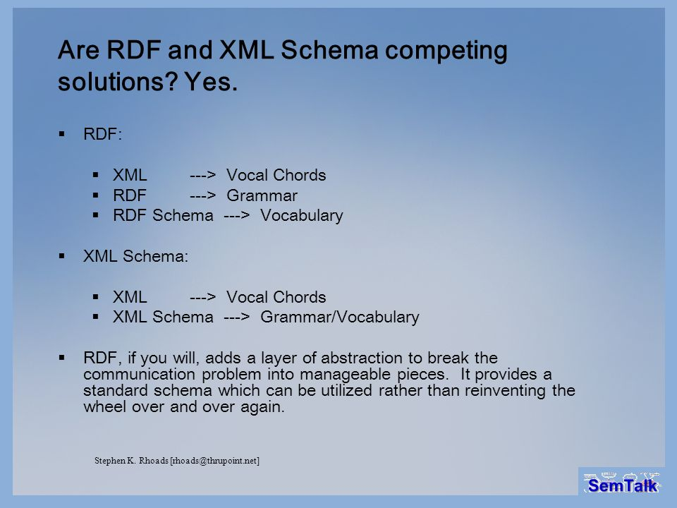 Are RDF and XML Schema competing solutions Yes.