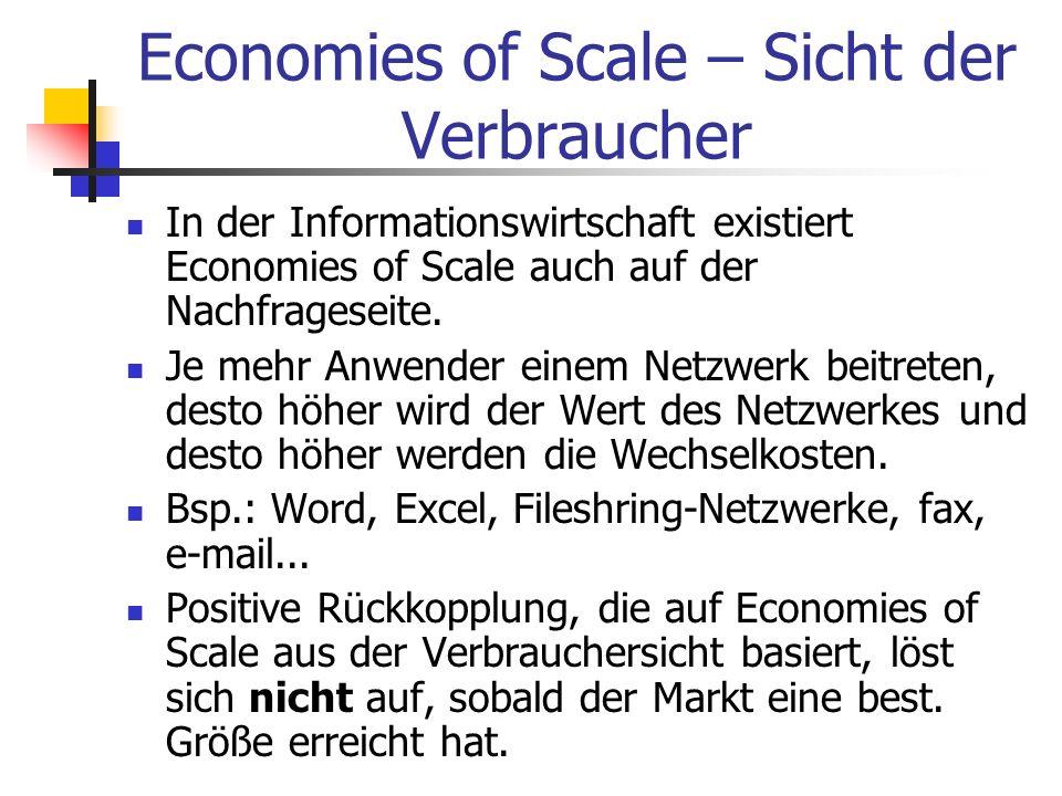 Economies of Scale – Sicht der Verbraucher