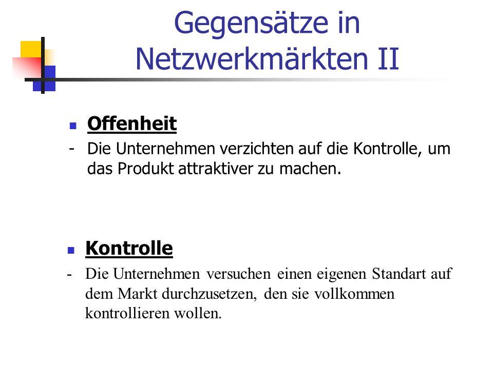 Gegensätze in Netzwerkmärkten II