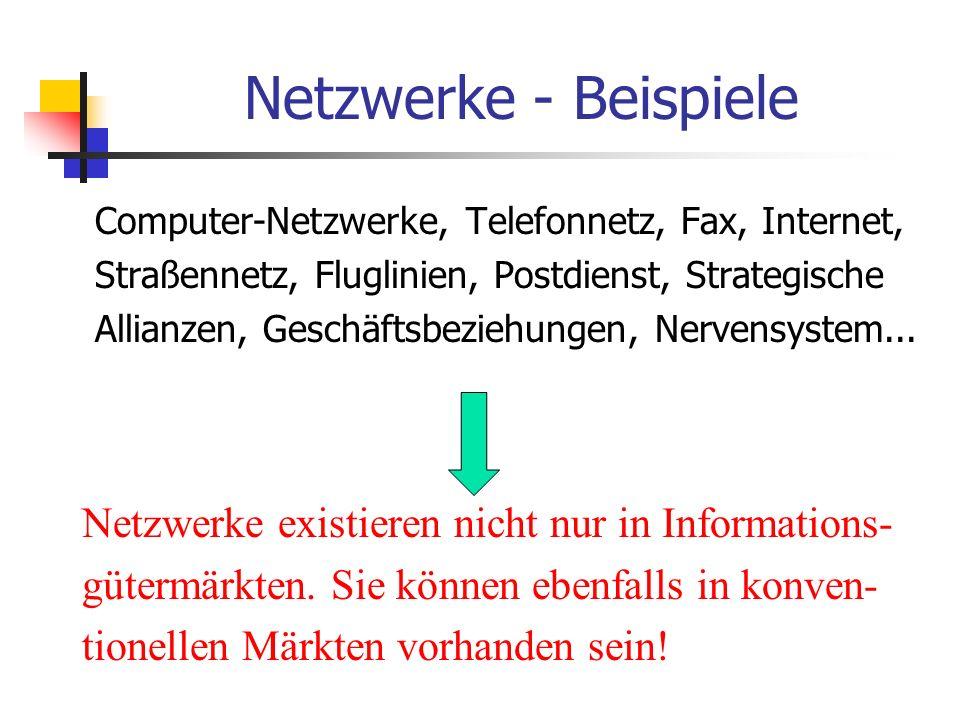Netzwerke - Beispiele Netzwerke existieren nicht nur in Informations-