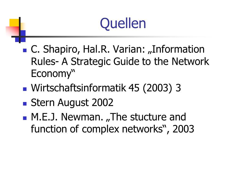 "QuellenC. Shapiro, Hal.R. Varian: ""Information Rules- A Strategic Guide to the Network Economy Wirtschaftsinformatik 45 (2003) 3."