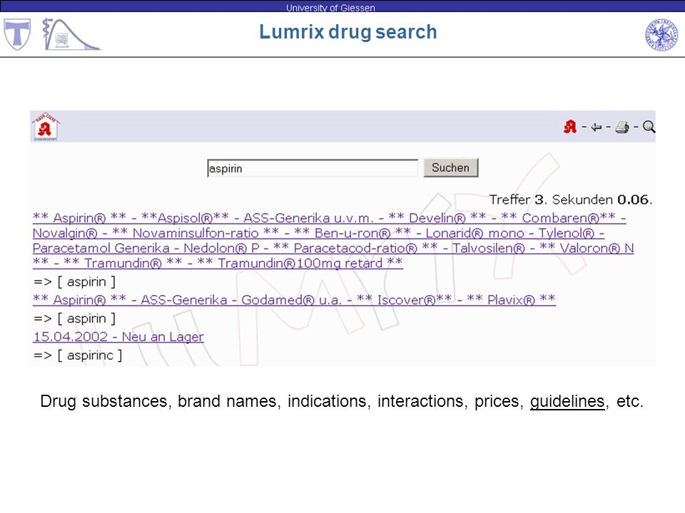 Lumrix drug search Drug substances, brand names, indications, interactions, prices, guidelines, etc.