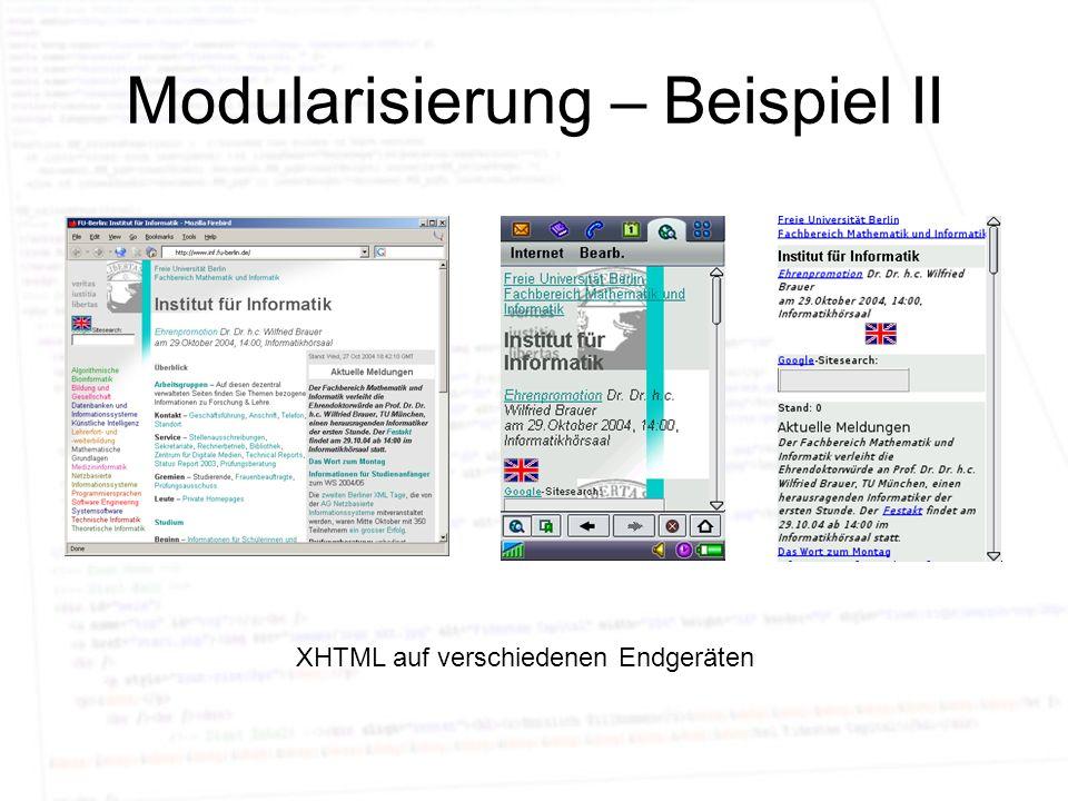 Modularisierung – Beispiel II