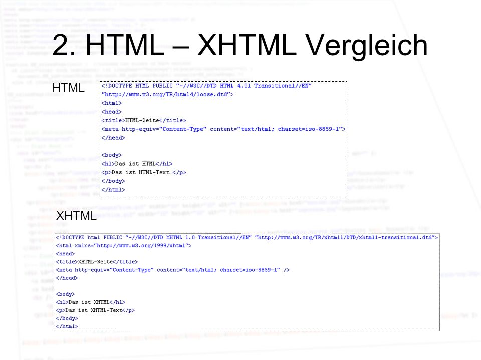 2. HTML – XHTML Vergleich HTML XHTML