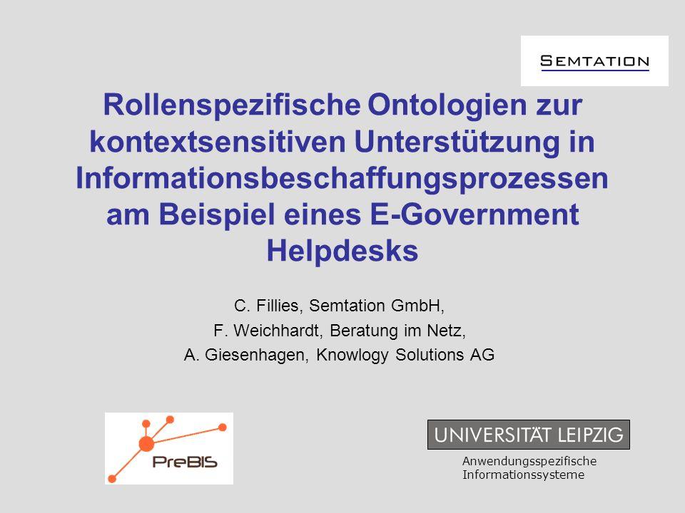 Rollenspezifische Ontologien zur kontextsensitiven Unterstützung in Informationsbeschaffungsprozessen am Beispiel eines E-Government Helpdesks