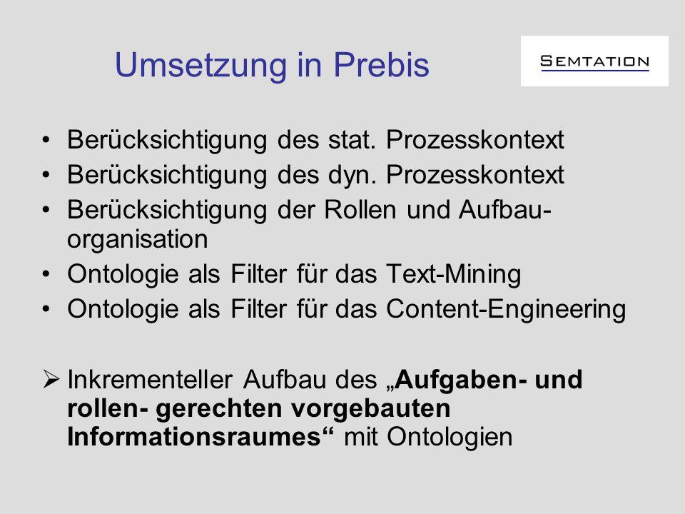 Umsetzung in Prebis Berücksichtigung des stat. Prozesskontext