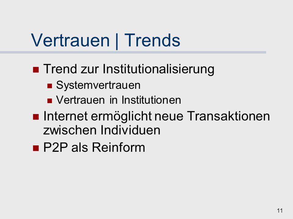 Vertrauen | Trends Trend zur Institutionalisierung