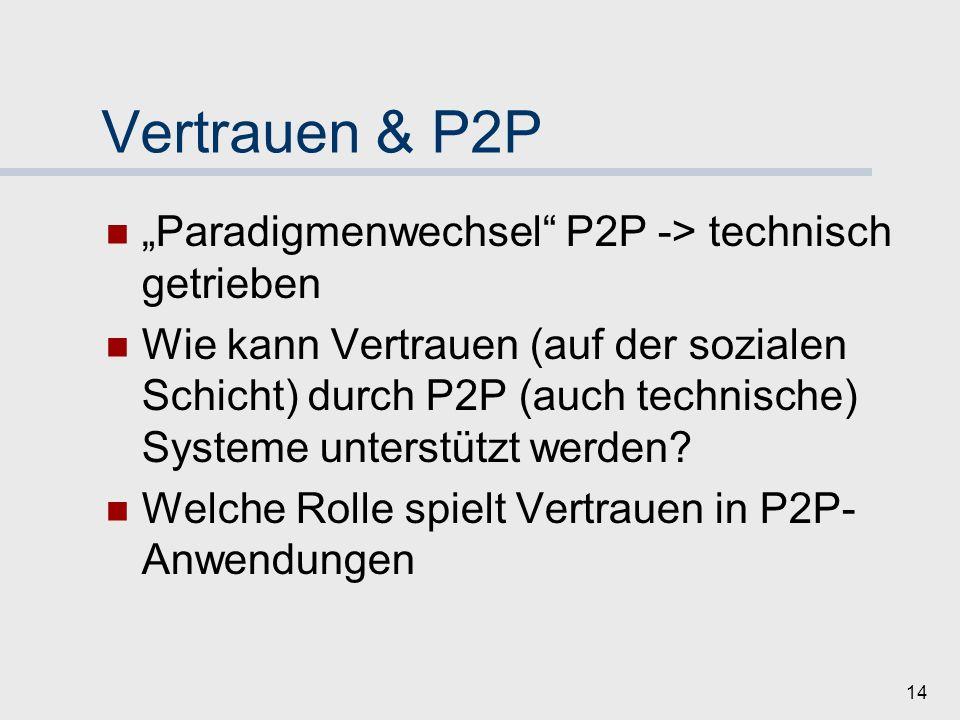 """Vertrauen & P2P """"Paradigmenwechsel P2P -> technisch getrieben"""