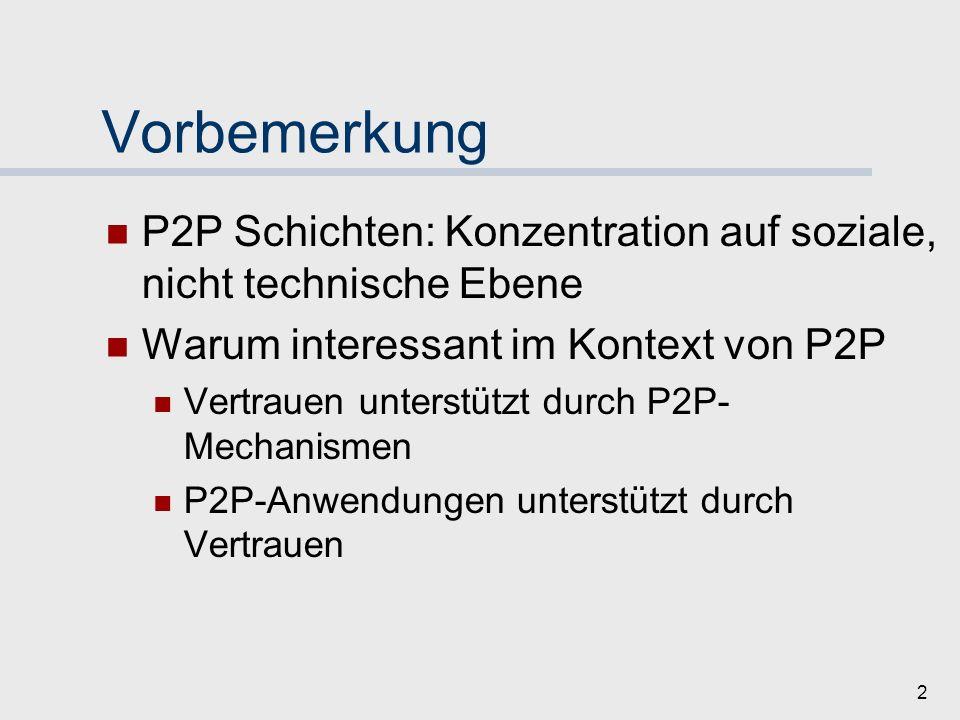 Vorbemerkung P2P Schichten: Konzentration auf soziale, nicht technische Ebene. Warum interessant im Kontext von P2P.