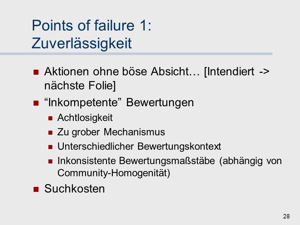 Points of failure 1: Zuverlässigkeit