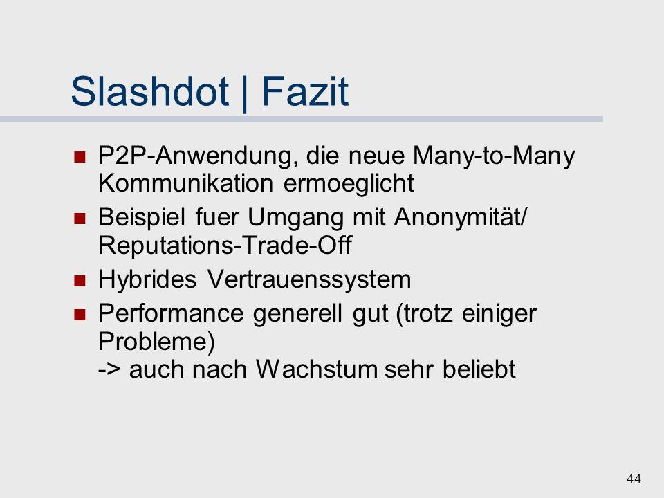 Slashdot | Fazit P2P-Anwendung, die neue Many-to-Many Kommunikation ermoeglicht. Beispiel fuer Umgang mit Anonymität/ Reputations-Trade-Off.