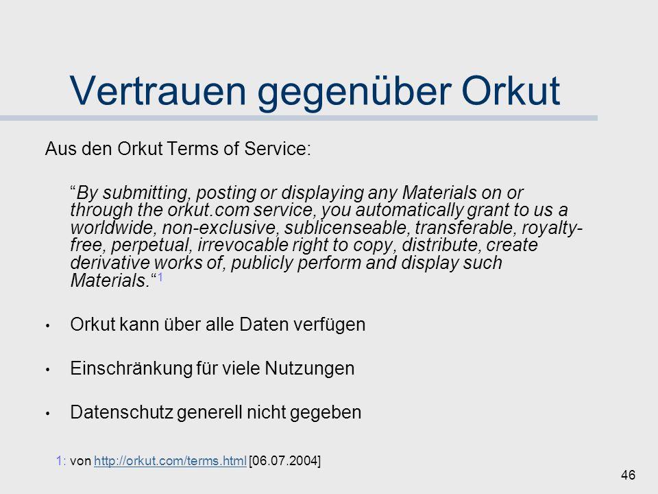Vertrauen gegenüber Orkut
