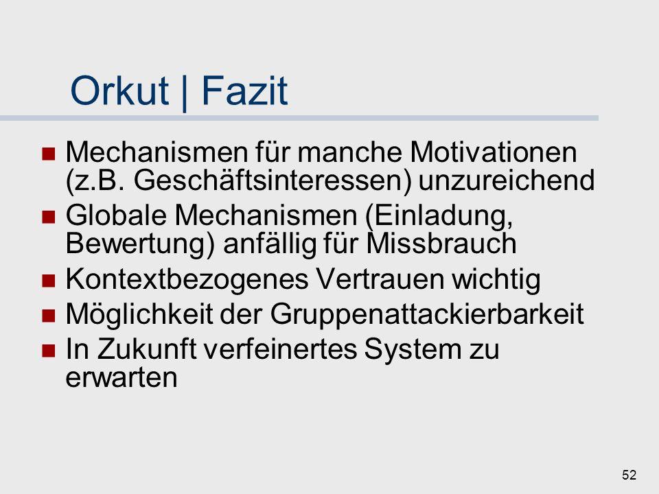 Orkut | Fazit Mechanismen für manche Motivationen (z.B. Geschäftsinteressen) unzureichend.