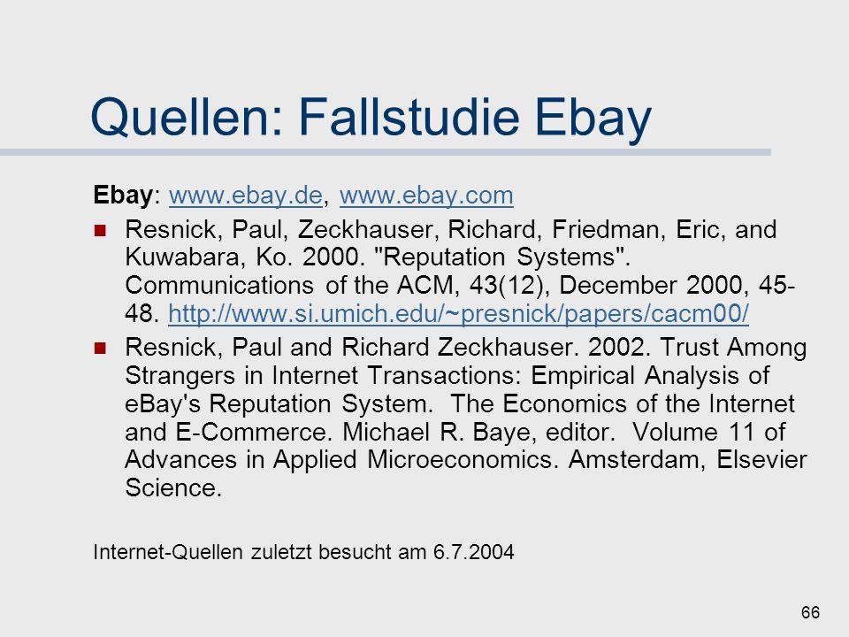Quellen: Fallstudie Ebay