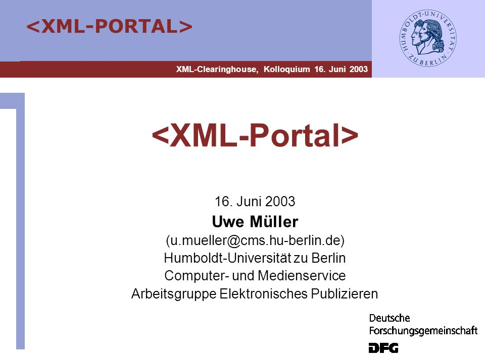 <XML-Portal> Uwe Müller 16. Juni 2003