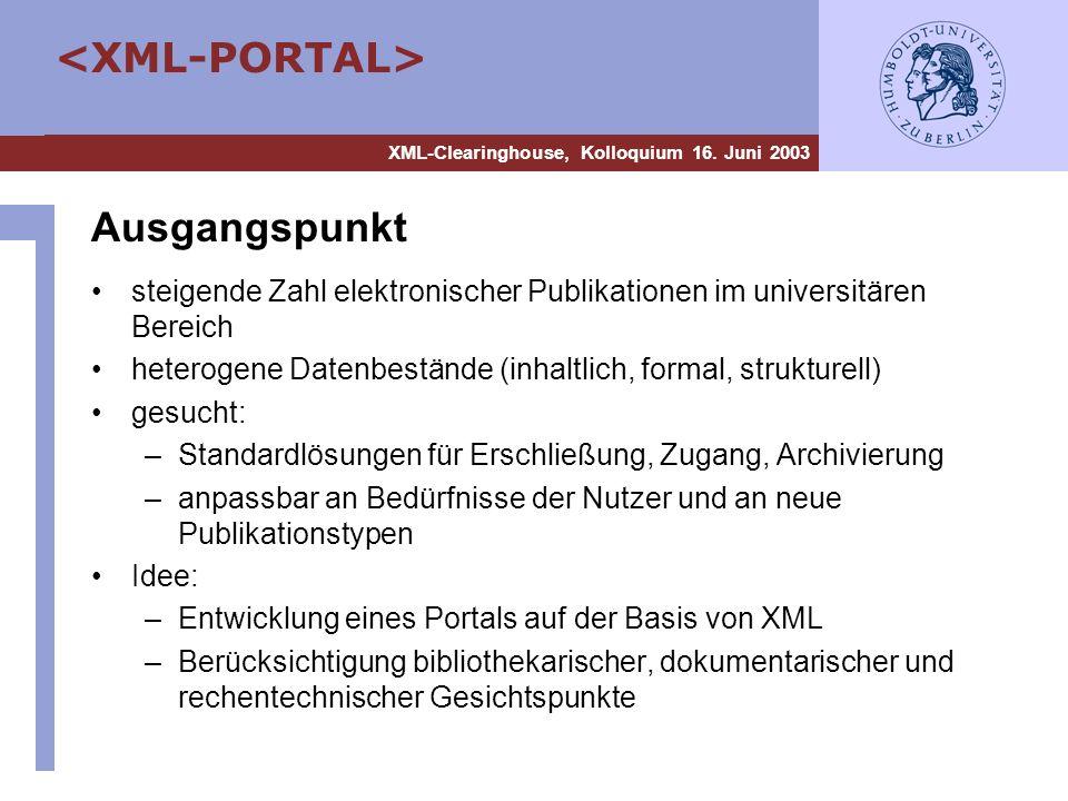 Ausgangspunkt steigende Zahl elektronischer Publikationen im universitären Bereich. heterogene Datenbestände (inhaltlich, formal, strukturell)