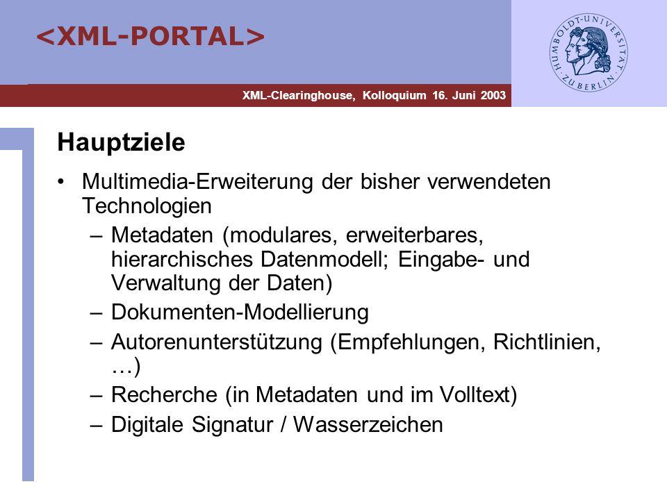 Hauptziele Multimedia-Erweiterung der bisher verwendeten Technologien