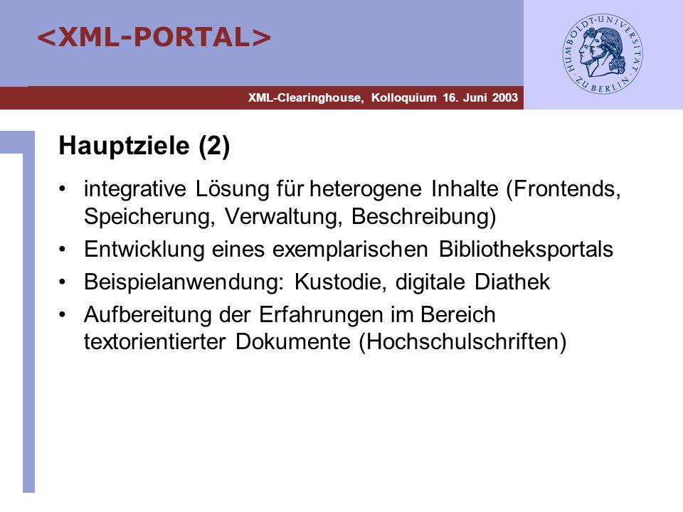 Hauptziele (2) integrative Lösung für heterogene Inhalte (Frontends, Speicherung, Verwaltung, Beschreibung)