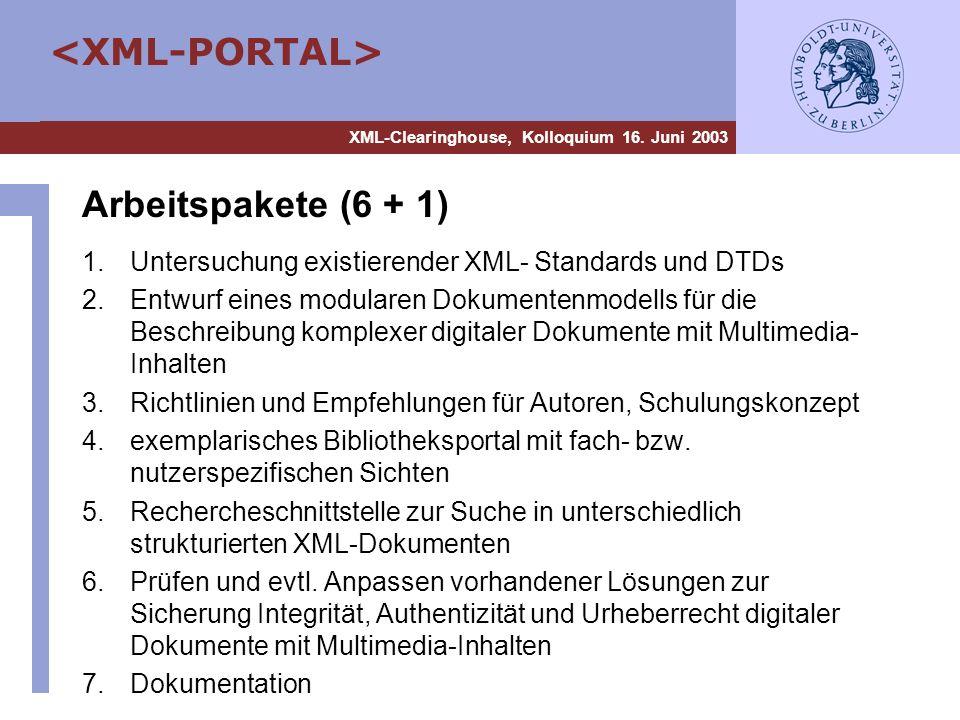 Arbeitspakete (6 + 1) Untersuchung existierender XML- Standards und DTDs.