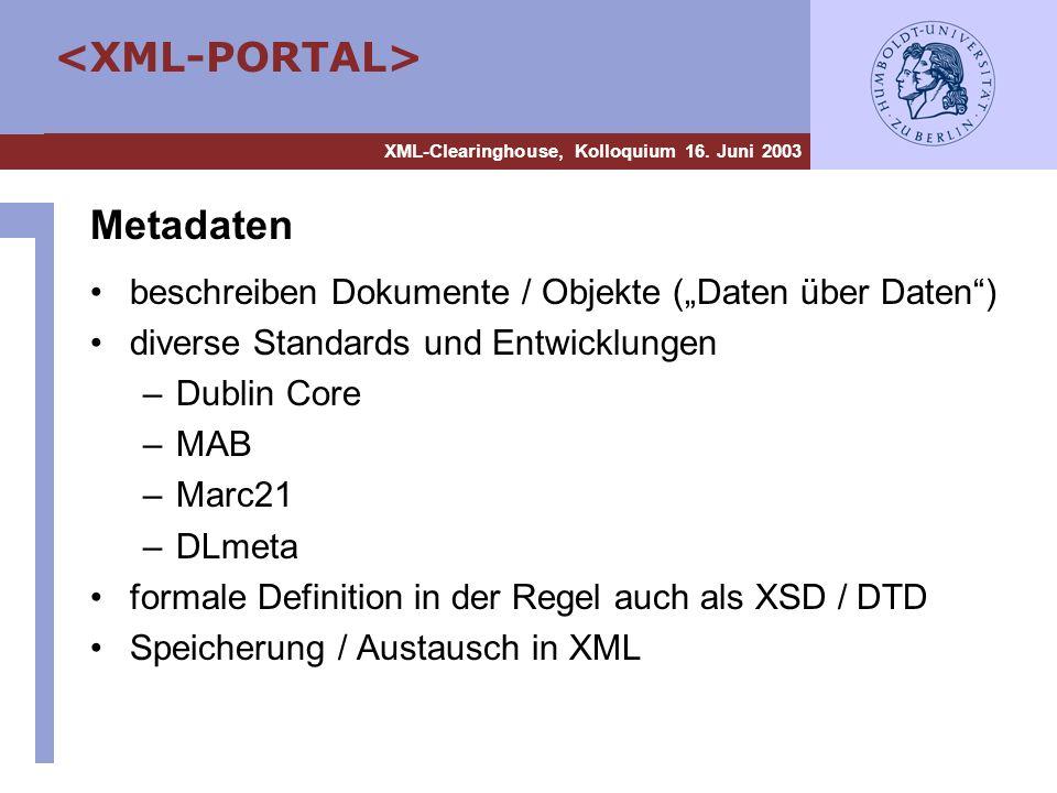 """Metadaten beschreiben Dokumente / Objekte (""""Daten über Daten )"""