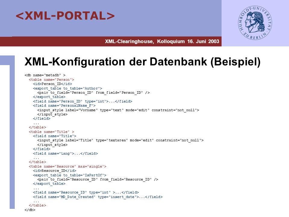 XML-Konfiguration der Datenbank (Beispiel)
