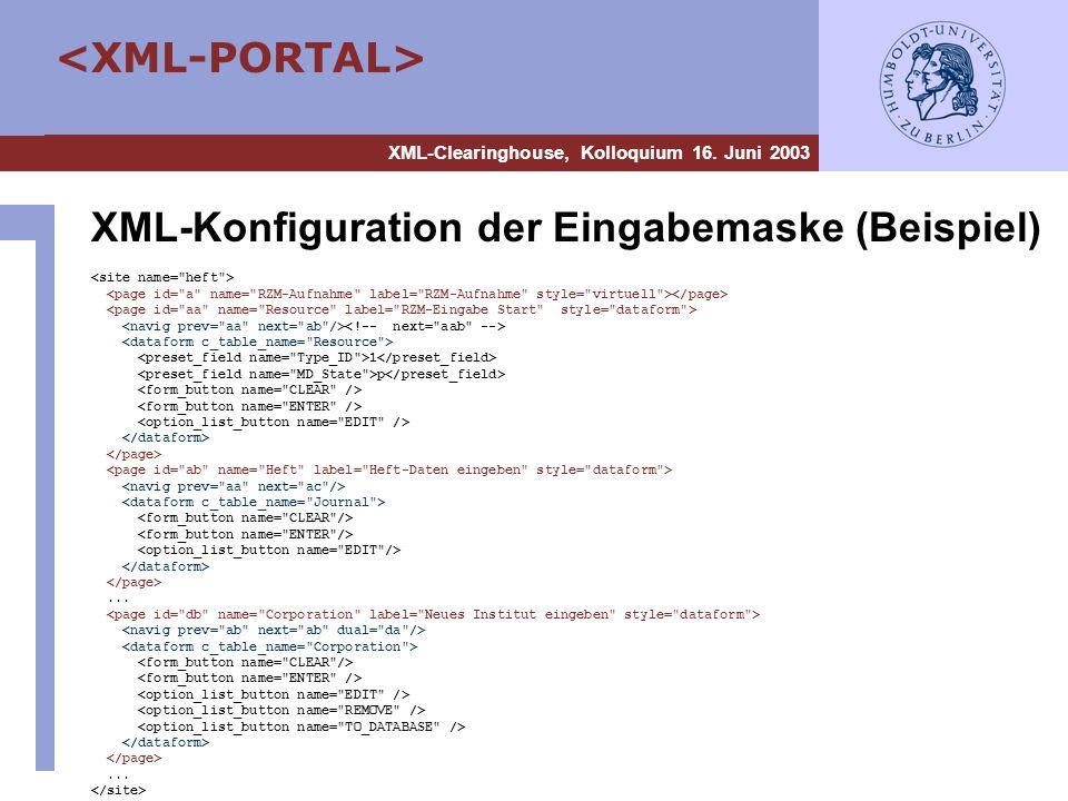 XML-Konfiguration der Eingabemaske (Beispiel)