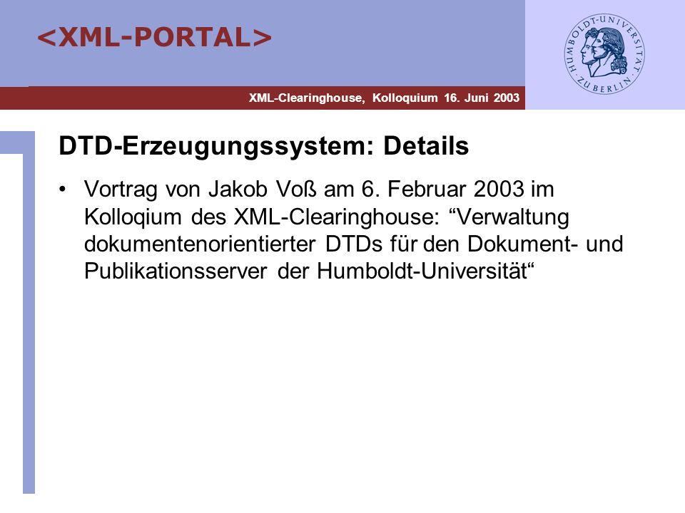 DTD-Erzeugungssystem: Details