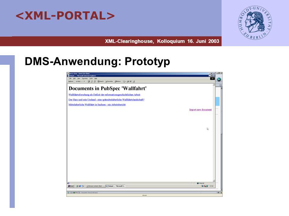 DMS-Anwendung: Prototyp