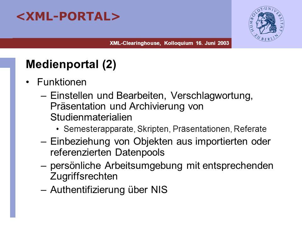 Medienportal (2) Funktionen