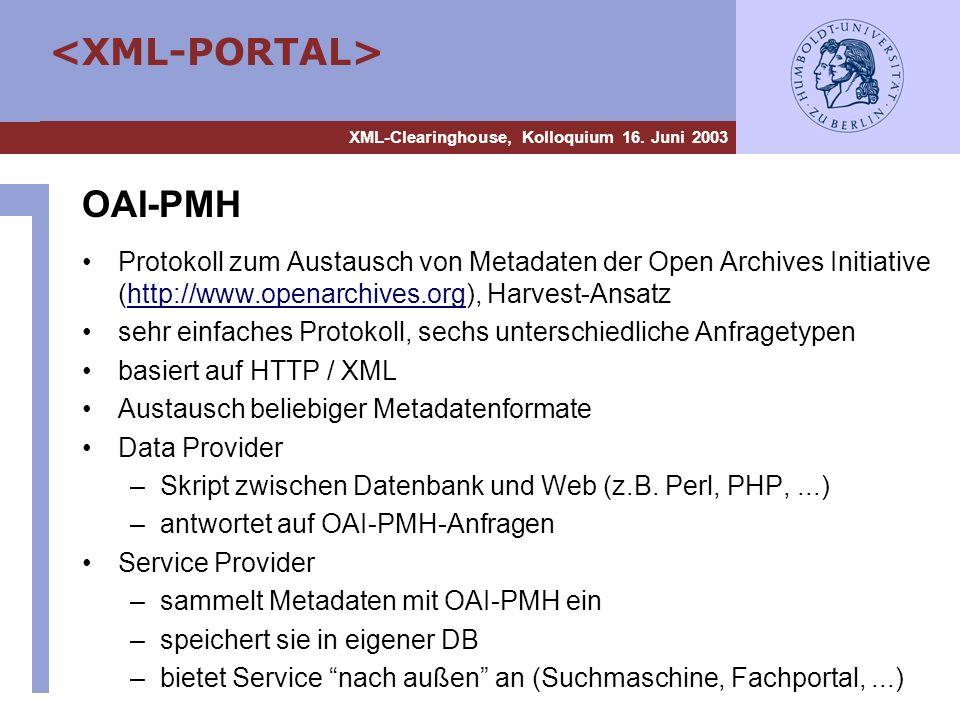 OAI-PMH Protokoll zum Austausch von Metadaten der Open Archives Initiative (http://www.openarchives.org), Harvest-Ansatz.