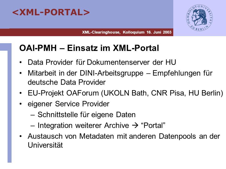 OAI-PMH – Einsatz im XML-Portal