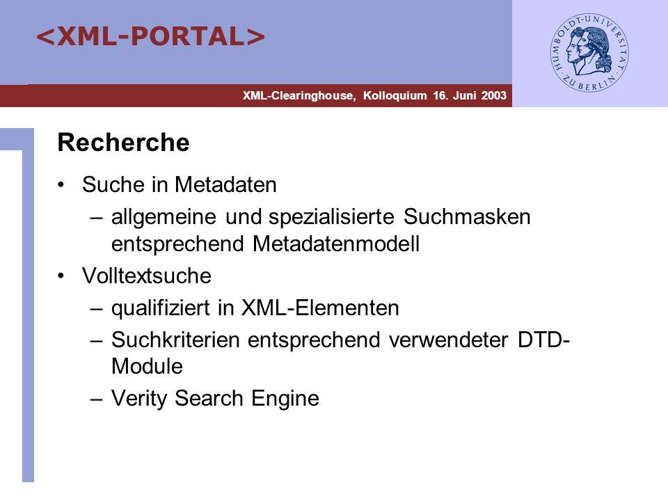 Recherche Suche in Metadaten