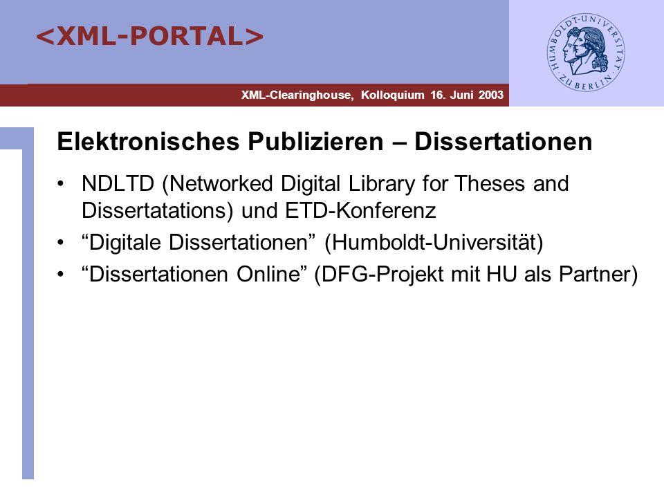Elektronisches Publizieren – Dissertationen