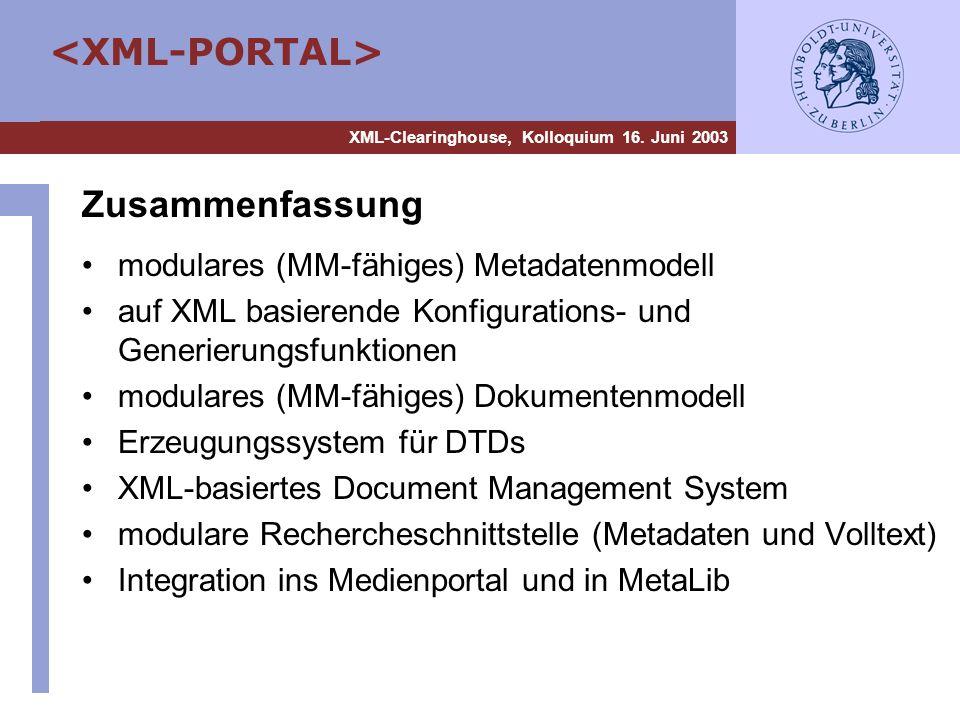 Zusammenfassung modulares (MM-fähiges) Metadatenmodell
