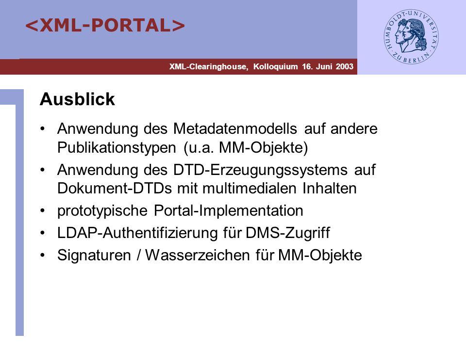 AusblickAnwendung des Metadatenmodells auf andere Publikationstypen (u.a. MM-Objekte)