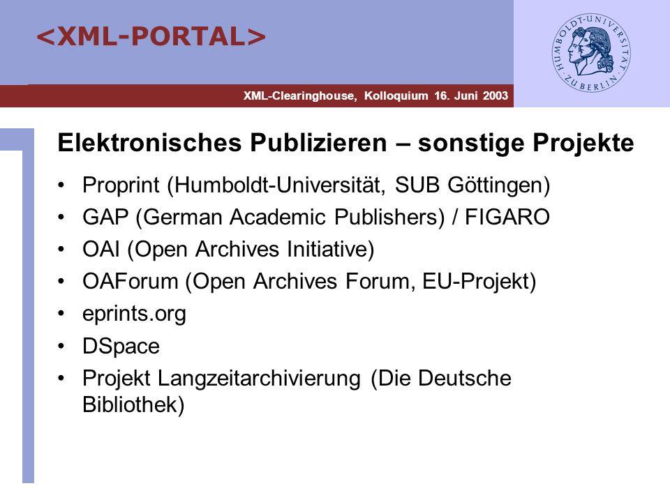 Elektronisches Publizieren – sonstige Projekte