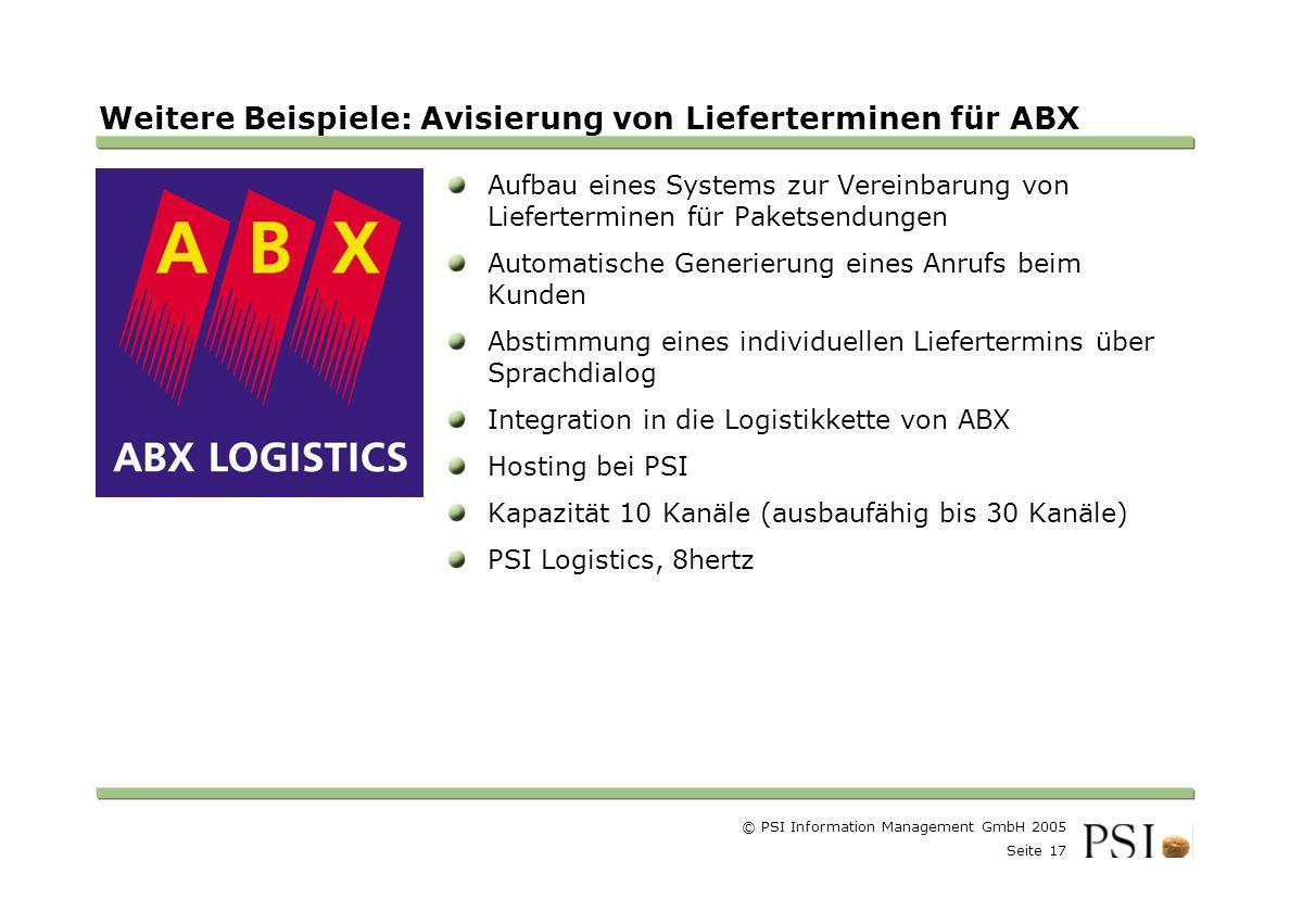 Weitere Beispiele: Avisierung von Lieferterminen für ABX
