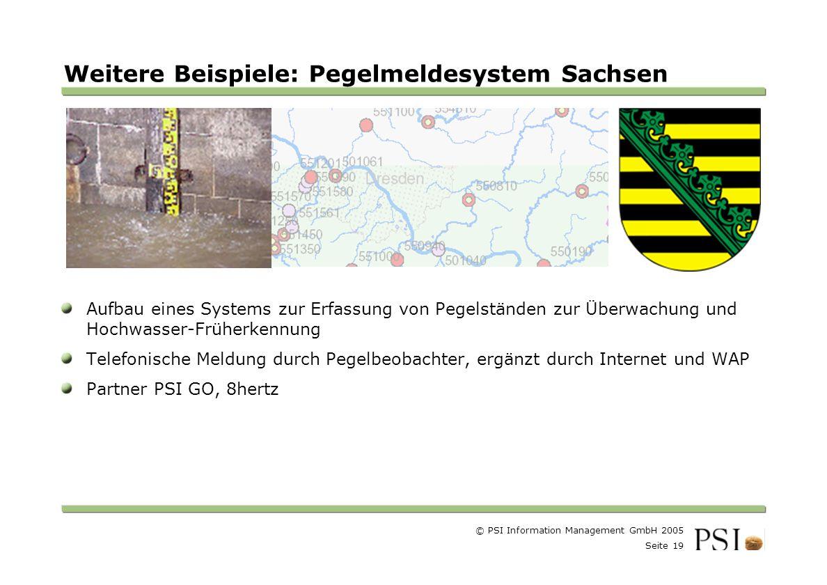 Weitere Beispiele: Pegelmeldesystem Sachsen