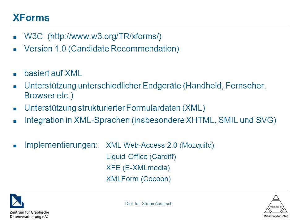 XForms W3C (http://www.w3.org/TR/xforms/)