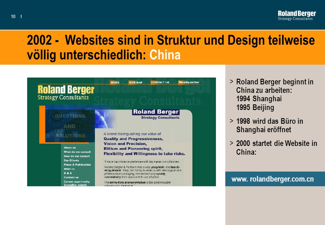 2002 - Websites sind in Struktur und Design teilweise völlig unterschiedlich: China